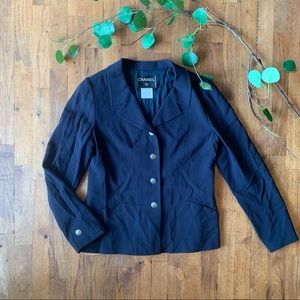 CHANEL navy blue blazer jacket